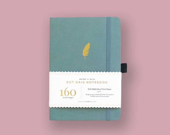 Archer & Olive Ultra Thick 160gsm Paper Dot Grid Journal - Teal Feather