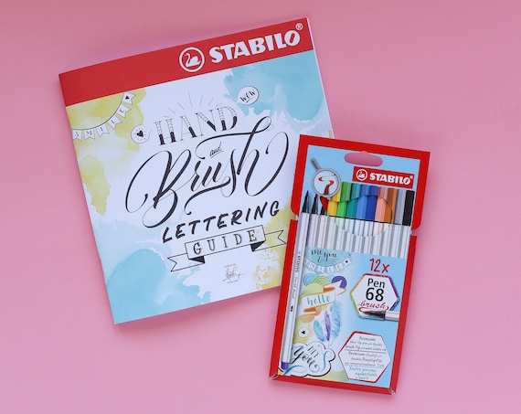 Stabilo Pen 68 Brush Marker 12 pack & Brush Lettering Book Set