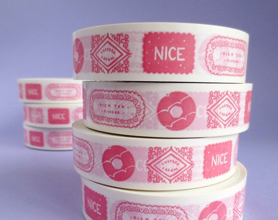 Biscuits Deco Tape - Decorative Vinyl Bujo Tape - Pink - Cookies and Sweet Snacks - Bullet Journal Decoration Sticky Tape