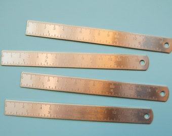 """Brass Coloured Mini Metal Ruler - 15cm / 6"""" Bujo Ruler - Gold Coloured Journalling Ruler - Bronze Metal Bullet Journal - Travelers Notebook"""
