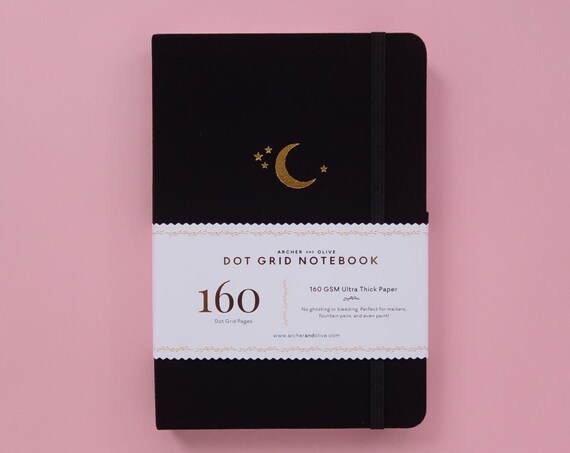 PRE-ORDER - Archer & Olive Ultra Thick 160gsm Paper Dot Grid Journal - Crescent Moon