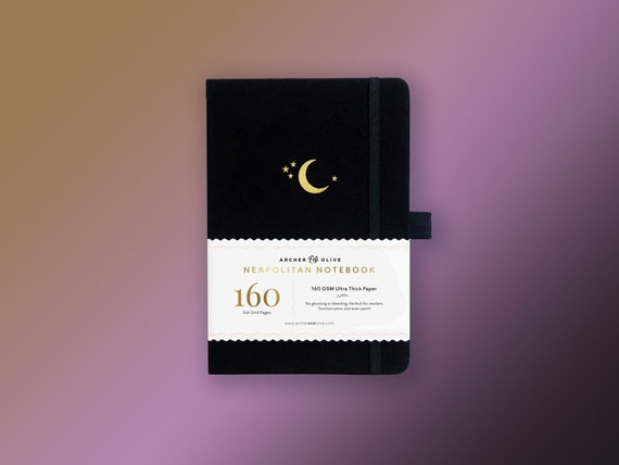 Archer & Olive Neapolitan Paper Book - Gold Crescent Moon - Ultra Thick 160gsm Paper Dot Grid Journal