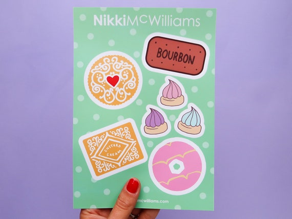Biscuit Lover Vinyl Stickers - Nikki McWilliams Bujo Decals - Cookie Bullet Journal Decoration Stickers - A5 Matt Sticker Sheet - Planner