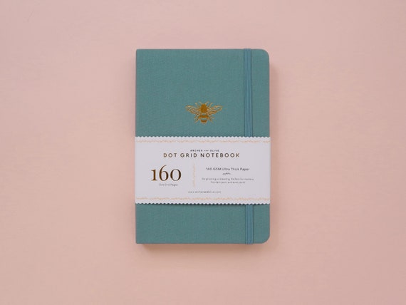 PRE-ORDER - Archer & Olive Ultra Thick 160gsm Paper Dot Grid Journal - Teal Bee