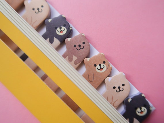 Mini Bear Sticky Page Markers - Bullet Journal TeddyBear notes - Japanese Bujo Supplies - Teddy Stickers - Cute Kawaii Stationery