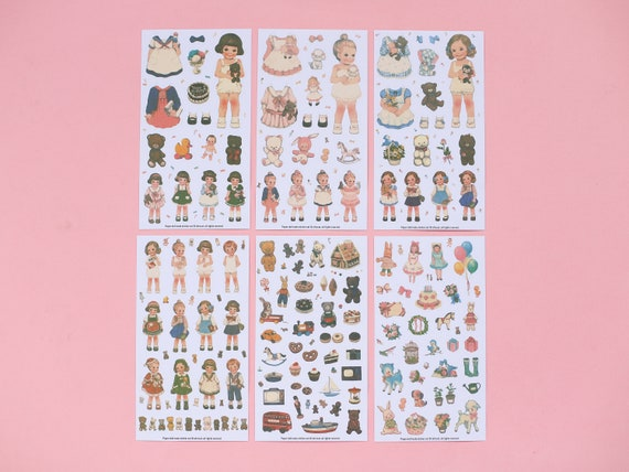 Vintage Style Dress-up Doll Stickers