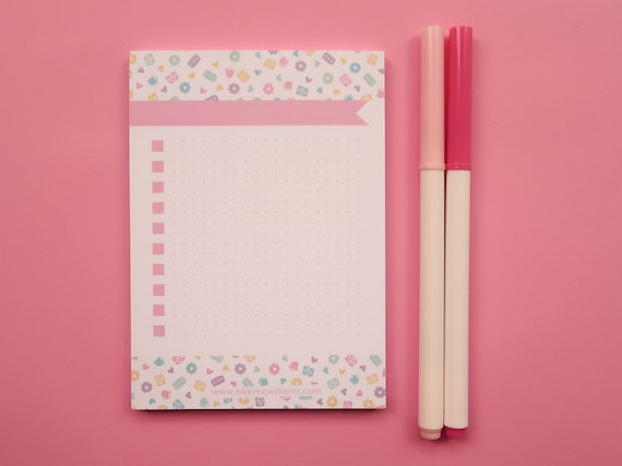 Pastel Biscuits To-Do list Notepad - A6 Size - Bujo Style Dotted Notelets - Nikki McWilliams Note Pad - Bullet Journal desk pad - Cookies