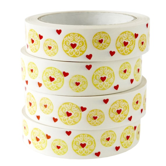 Jammy Hearts Biscuit Deco Tape - Decorative Vinyl Bujo Tape - Jammy Dodger Cookies and Sweet Snacks - Bullet Journal Decoration Sticky Tape