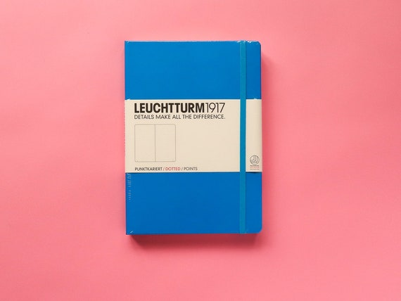 Leuchtturm 1917 Dotted Bullet Journal - Azure Blue A5 Hardback - Threadbound Journal - Dotted Notebook - Classic Journalling Bujo Supplies