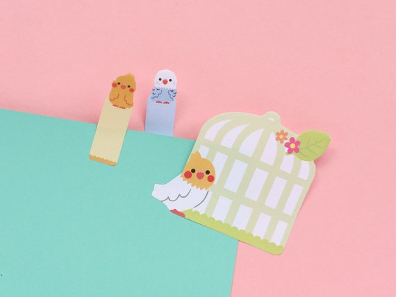 Big and Small Birdy Sticky Page Markers - Bullet Journal Panda Bear notes - Japanese Bujo Supplies - Stickers - Cute Kawaii Stationery