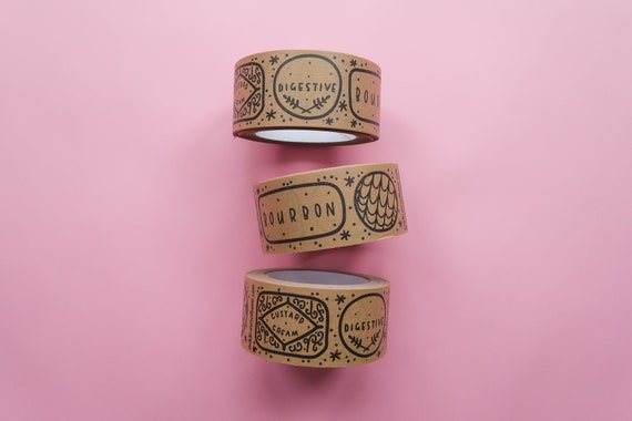 Biscuits Kraft Paper Parcel Tape - 50mm Paper Sticky Tape - Custard Cream / Digestive / Bourbon Wrapping Tape
