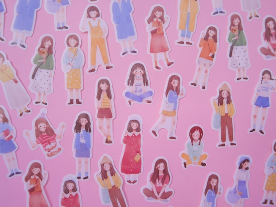 Brunette Girl Washi Stickers