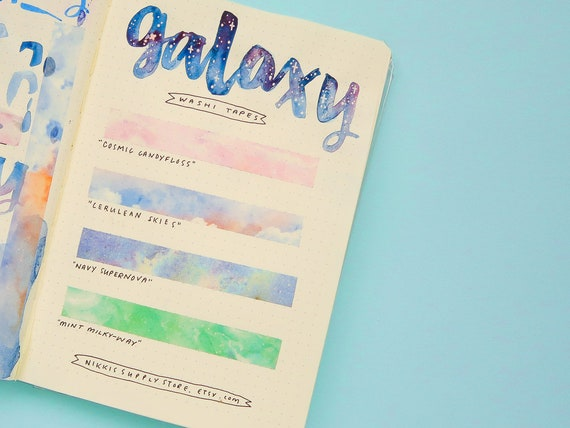 Galaxy Washi Tapes - Starry Sky Washi Tape - Bullet Journal Supplies - Japanese masking tape - Bujo Supplies - Nebula Clouds Star Sellotape