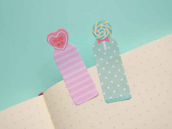 Mini Candy Sticky Page Markers - Bullet Journal spread notes - Japanese Bujo Supplies - Sweeties Stickers - Cute Study - Kawaii Stationery