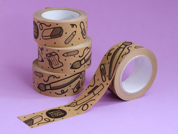 Stationery Kraft Paper Parcel Tape - 50mm Paper Sticky Tape - Hand Drawn Pens / Pencils / Erasers