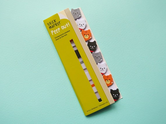 Mini Kitty Sticky Page Markers - Bullet Journal spread notes - Japanese Bujo Supplies - Cat Stickers - Cute Study - Kawaii Stationery