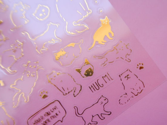 Golden Kitty Clear Stickers