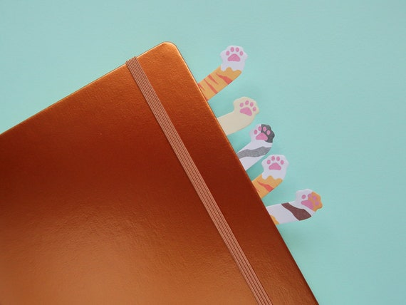 Mini Kitty Paw Sticky Page Markers - Bullet Journal Cat notes - Japanese Bujo Supplies - Pawprint Stickers - Cute Kawaii Stationery