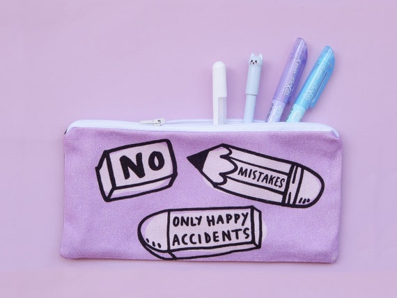 No Mistakes, Just Happy Accidents Pencil Case - Nikki McWilliams - Zippy Pencil Case - Pen pouch - Bullet Journal Supplies