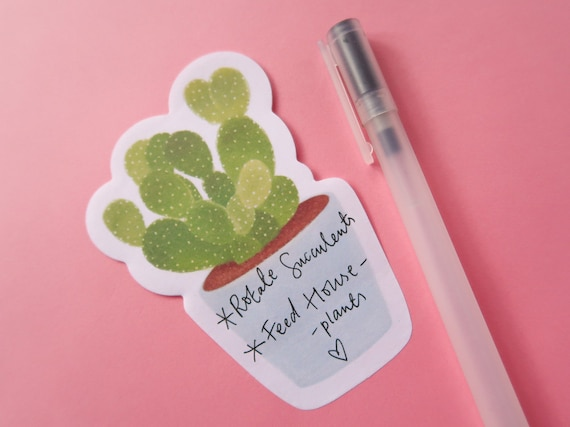 Cacti Sticky Notes - Blue - Bujo Supplies - Bullet Journal Memo Sticker - Cute Kawaii Cactus Stationery - Plant Lovers - Succulent Sticker
