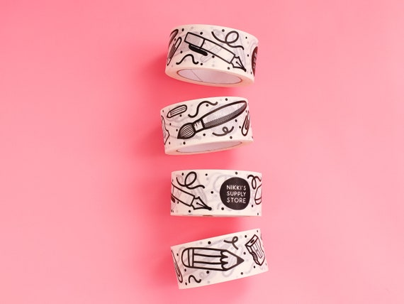 Nikki's Supply Store White Kraft Paper Parcel Tape - 50mm Paper Sticky Tape - Stationery Illustrated Parcel Tape