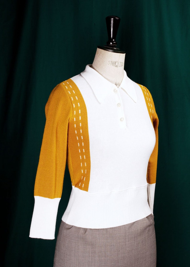 50s Shirts & Tops KITTY 50's polo collar 3/4 sleeves sweater (Mustard and cream) $124.61 AT vintagedancer.com
