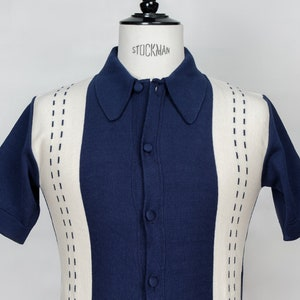 Mens Vintage Shirts – Casual, Dress, T-shirts, Polos STACCATO 2 short sleeves polo collar cardigan  $157.83 AT vintagedancer.com