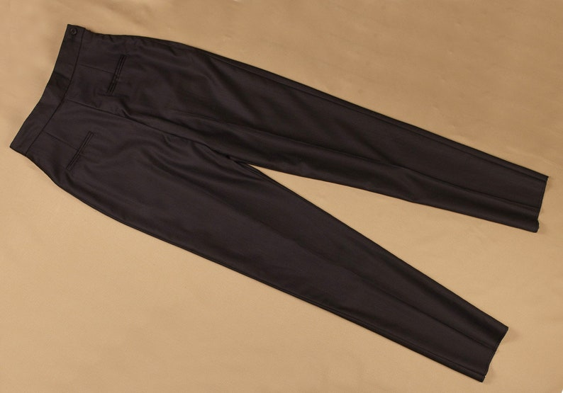 1950s Pants & Jeans- High Waist, Wide Leg, Capri, Pedal Pushers PATRICIA 50s tailored high waisted cigarette trousers (Black) $141.22 AT vintagedancer.com