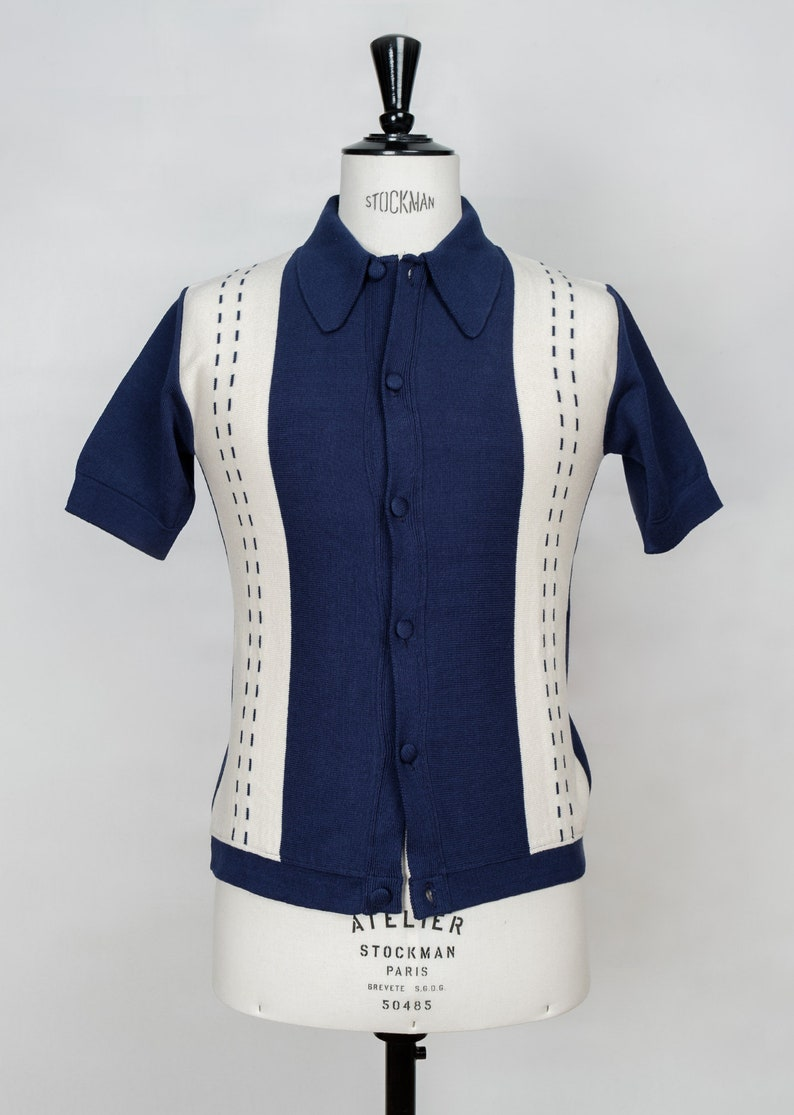 1950s Men's Clothing STACCATO 2 short sleeves polo collar cardigan  $157.83 AT vintagedancer.com