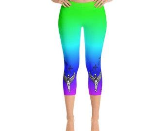 4ab452b274093 Egyptian, Isis leggings, Isis, Horus, Activation, Hieroglyphs, Rainbow, yoga  leggings, goddess leggings, Capri Leggings