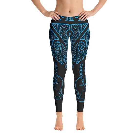 Leggings de chat égyptien Womens jambières, Bastet leggings, jambières en spirale, chat, leggings jambières de Yoga, l'éternité Leggings