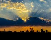 Düsseldorf Skyline Sunset Photo Printing on Alu-Dibond