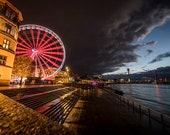 Düsseldorf Skyline Ferris wheel photo print on canvas 90x60