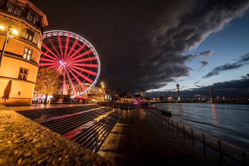 Düsseldorf Skyline Ferris wheel photo print on alu-Dibond 45 x image 0