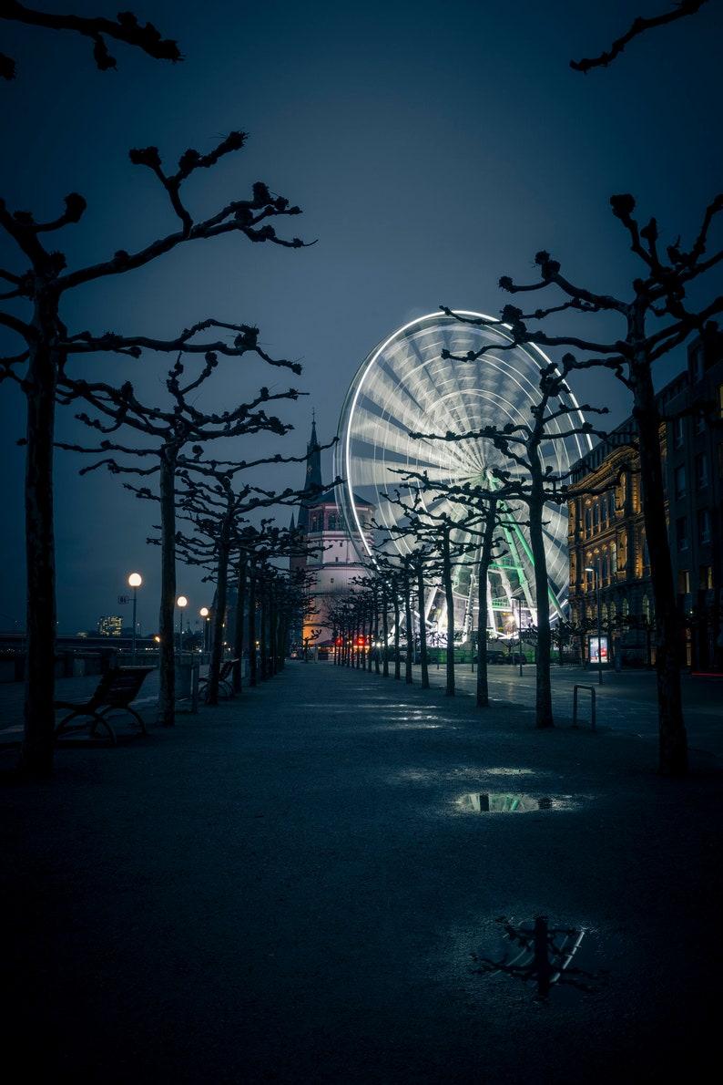 Düsseldorf Skyline Ferris Wheel Photo printing on Alu-Dibond image 0