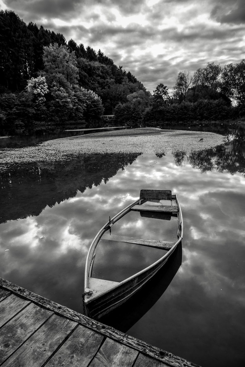 Boat at the lake landscape photo print on slope 60 x 40 cm image 0