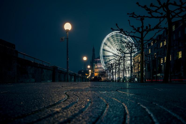Düsseldorf Skyline Ferris Wheel Art print 60 x 40 cm image 0