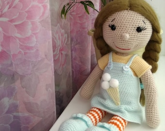 Crochet doll manual work soft toy doll in clothes clothing is removed doll in dress brunette doll toyfor children