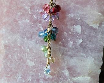 Reiki infused, swarovski semi precious crystal necklace boho chakra handmade with glass beads - charka