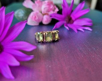 Reiki infused peridot stone semi precious crystal -vintage ring- boho chakra handmade with glass beads - charka