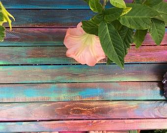Soft color melt garden meditation altar table/bench