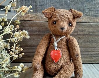 teddy dog, handmade toy, collection teddy, old style vintage toy, artist teddy, dog