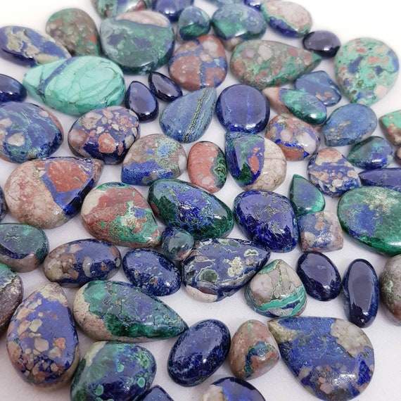 Loose Gem Stone Cabs Smooth Azurite Gemstone Cabochon 3 Pieces Natural Azurite Cabochons Lot 9.50 Grams Loose Gemstone
