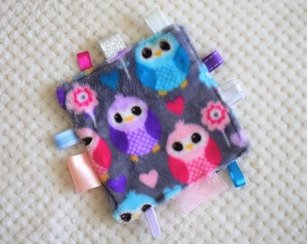 Crinkle Taggy Baby Toy - Grey Owl