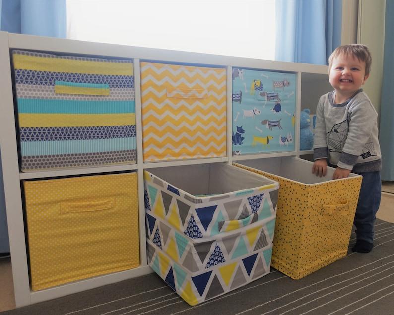 Yellow Pattern Colours Baby Custom Fabric Cover for Ikea Drona Storage Box in Kallax or Expedit shelf cube \u2013 Kids Nursery Room Toy Box