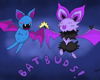 Bat Buds - Zubat Noibat 15 x 11 cm print