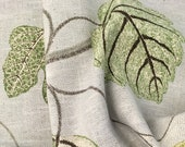Rustic Hand Woven Texture Natural Fibers Green Leaf Print Upholstery Pillow Tote Home Decor Soft Accent Pindler Borchard Designer Fabric