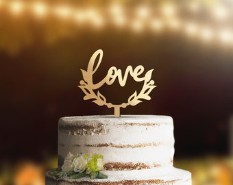 Geometric Love Wedding Cake Topper Available In Gold Rose Etsy