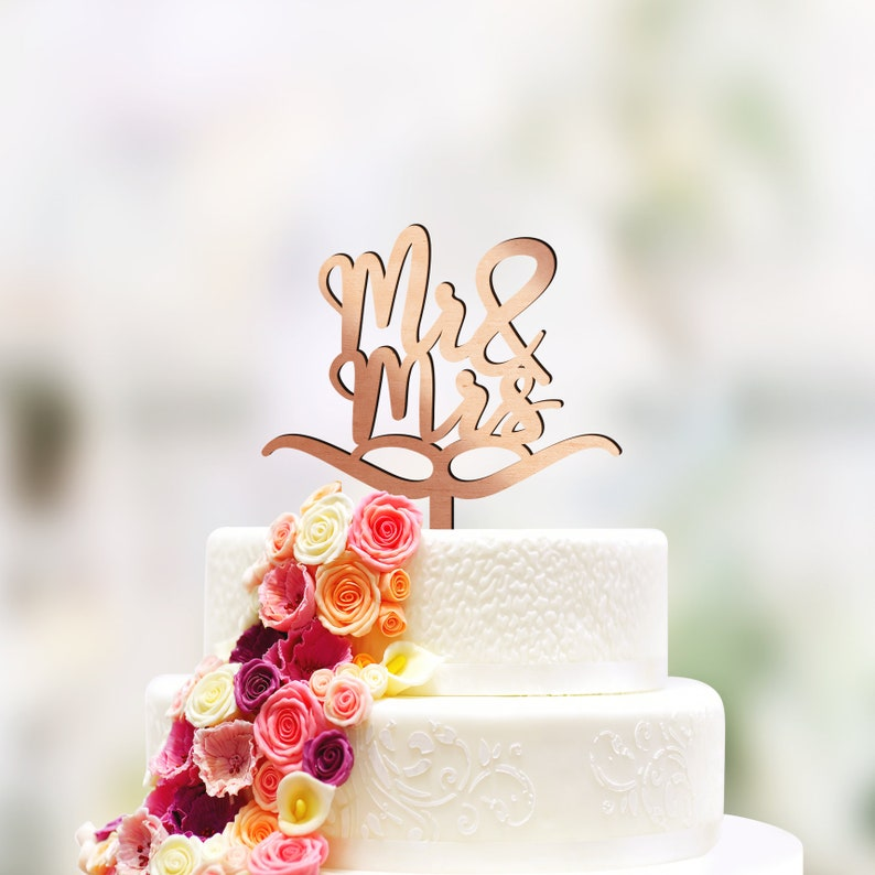 Mr And Mrs Wedding Cake Topper Available In Gold Rose Gold Etsy