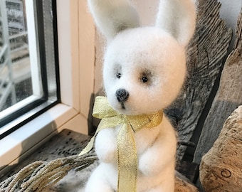Festive needle felted white rabbit, soft sculpture